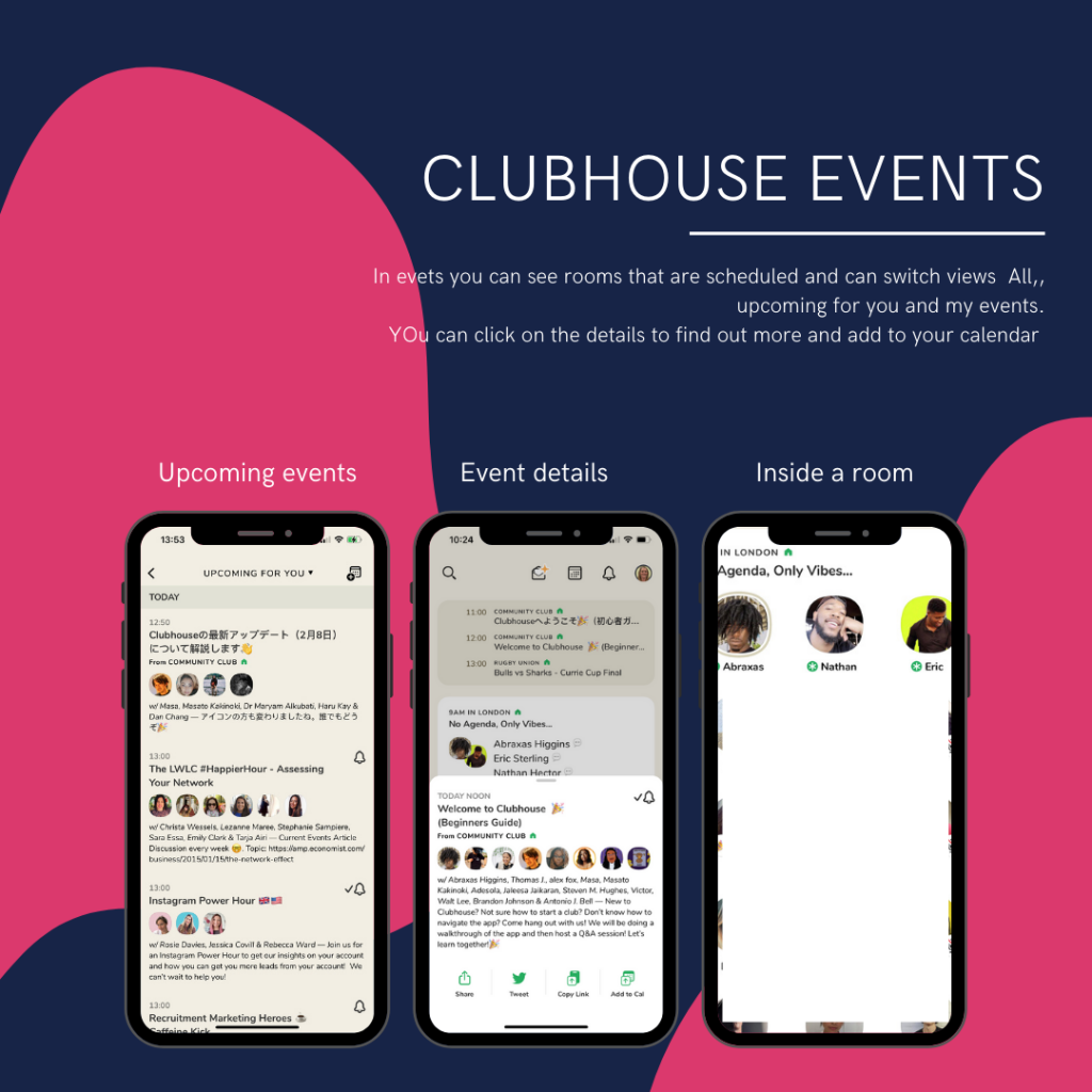 Screengrabs of the events section - showing scheduled, event details and inside a room